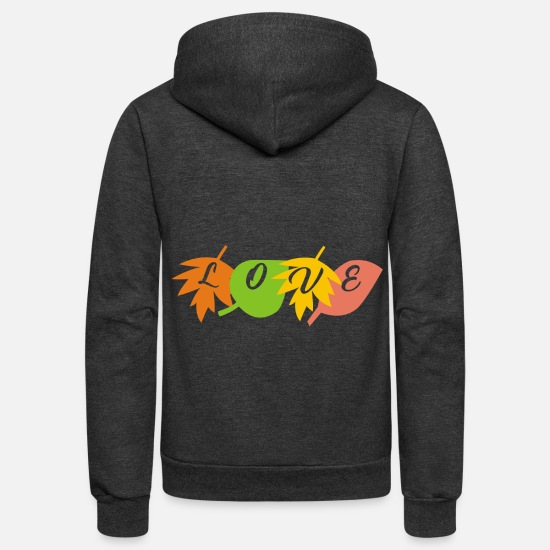 Love Hoodies & Sweatshirts - love leaf - Unisex Fleece Zip Hoodie charcoal gray