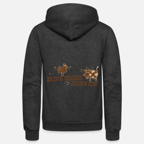 Chicken Coop Hoodies & Sweatshirts - BROWN CHICKEN BROWN COW - Unisex Fleece Zip Hoodie charcoal gray