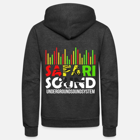 Dancehall Hoodies & Sweatshirts - SAFARI SOUND - Unisex Fleece Zip Hoodie charcoal gray
