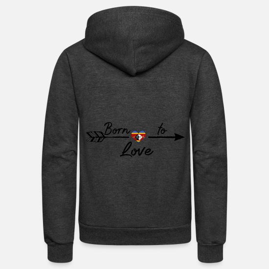Africa Hoodies & Sweatshirts - Born To Love Land From Roots Swasiland Swaziland p - Unisex Fleece Zip Hoodie charcoal gray
