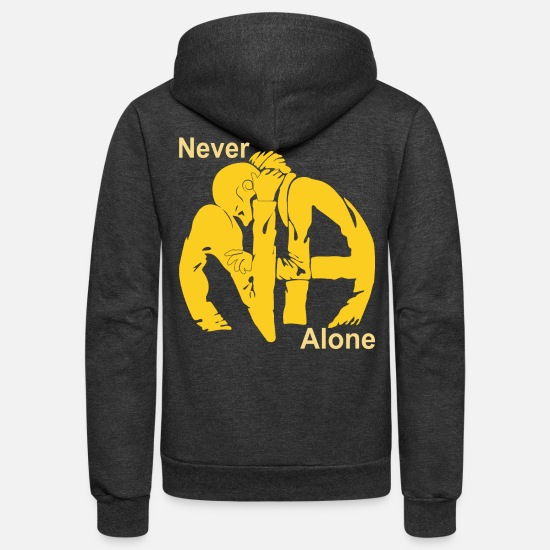 Anonymous Hoodies & Sweatshirts - Never Alone | Narcotics Anonymous NA Apparel - Unisex Fleece Zip Hoodie charcoal gray