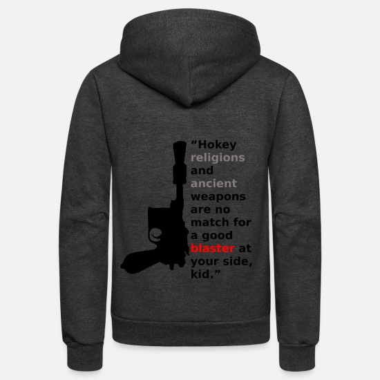 Movie Quote Hoodies & Sweatshirts - Hokey Religions and ancient Blasters - Unisex Fleece Zip Hoodie charcoal gray