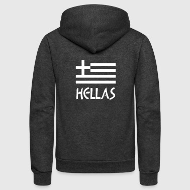 Greece Hellas Greek Flag - Unisex Fleece Zip Hoodie