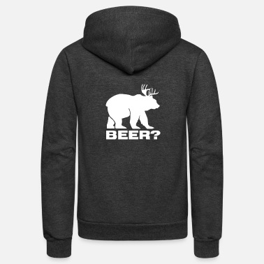 Vintage Beer Deer Bear Funny - Unisex Fleece Zip Hoodie