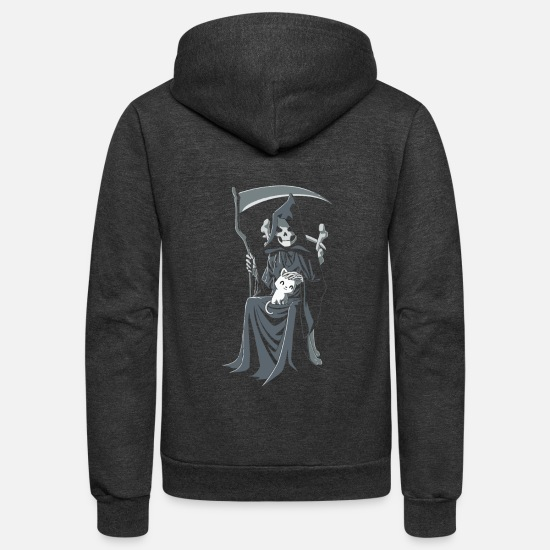New World Order Hoodies & Sweatshirts - Grim Reapurr New - Unisex Fleece Zip Hoodie charcoal gray