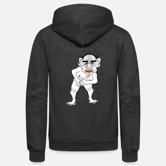 Disgusting Hoodies & Sweatshirts - naked ugly disgusting old man grandpa monster trol - Unisex Fleece Zip Hoodie charcoal gray