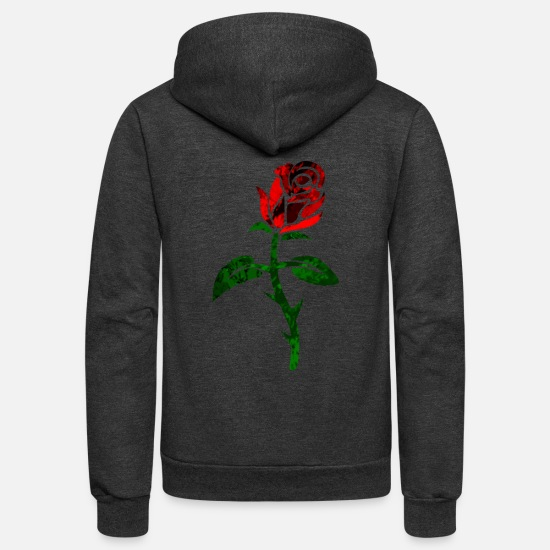 Love Hoodies & Sweatshirts - Rose in red - Unisex Fleece Zip Hoodie charcoal gray