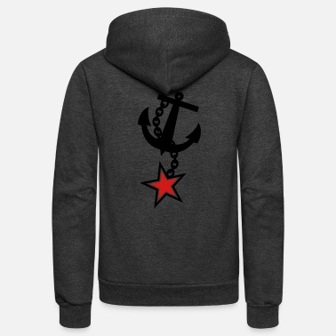 Anchor ANCHOR navy with a 5 point STAR army military - Unisex Fleece Zip Hoodie