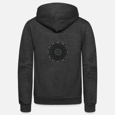 Monochrome monochrome flower mandala vintage decorative - Unisex Fleece Zip Hoodie