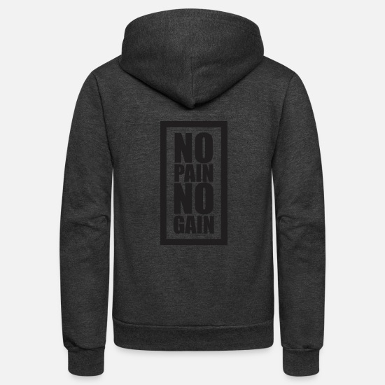 No Pain No Gain Hoodies & Sweatshirts - No Pain No Gain - Unisex Fleece Zip Hoodie charcoal gray