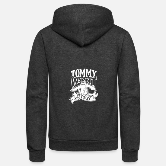 Movie Hoodies & Sweatshirts - TOMMY WANT WINGY - Unisex Fleece Zip Hoodie charcoal gray