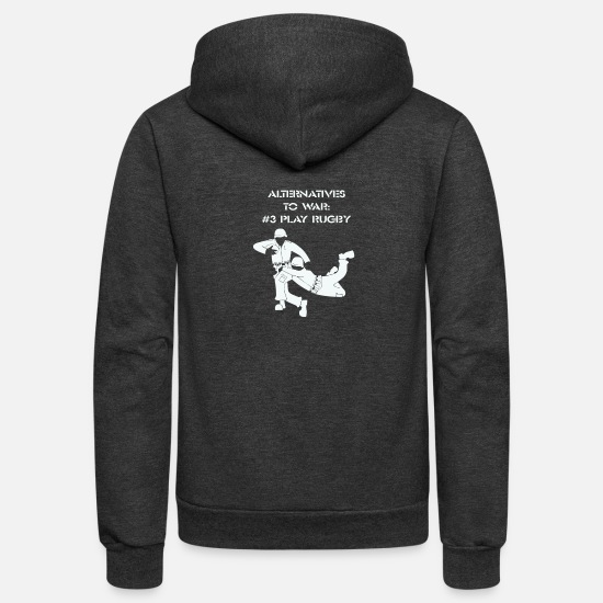 Play Hoodies & Sweatshirts - Alternatives to War Play Rugby - Unisex Fleece Zip Hoodie charcoal gray