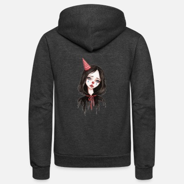 Clown Cute Depressed Clown - Unisex Fleece Zip Hoodie