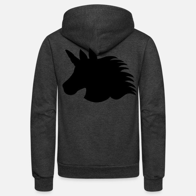 Mustang Hoodies & Sweatshirts - unicorn shape with blazing mane BEAUTIFUL!  - Unisex Fleece Zip Hoodie charcoal gray