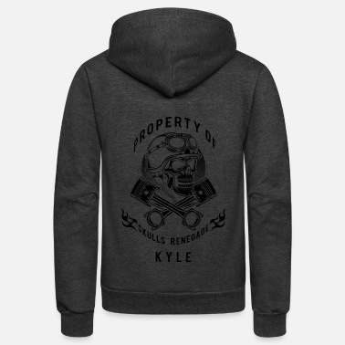 Mc Kyle Skulls Renegade MC - Black - Unisex Fleece Zip Hoodie