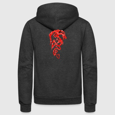 tribal red dreaming dragon - Unisex Fleece Zip Hoodie