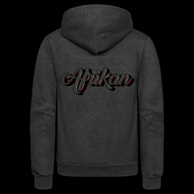 Cursive Afrikan Black with no fill - Unisex Fleece Zip Hoodie
