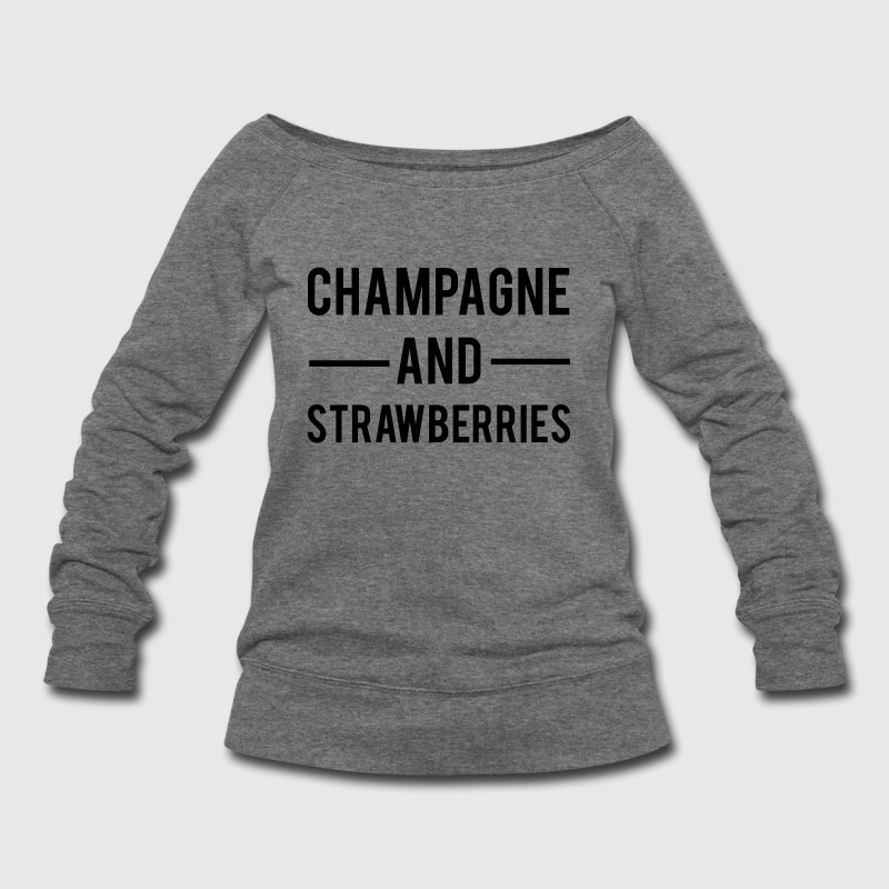 Champagne And Strawberries - Women's Wideneck Sweatshirt
