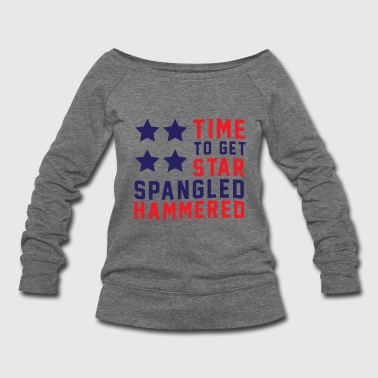 Star Spangled Hammered - American Flag - U.S.A  - Women's Wideneck Sweatshirt
