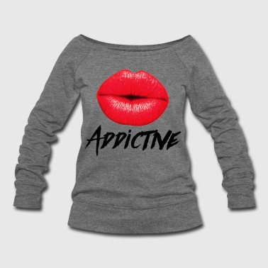 Lips Red Lips Lipstick Addictive  - Women's Wideneck Sweatshirt
