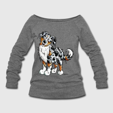 Happy Australian Shepherd - Dog - Comic - Gift - Women's Wideneck Sweatshirt