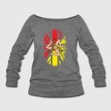 British Sicilian Flag - Sicily and UK Pride TShirt - Women's Wideneck Sweatshirt