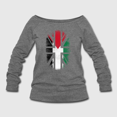 British Palestinian Flag - Palestine and UK Pride TShirt - Women's Wideneck Sweatshirt