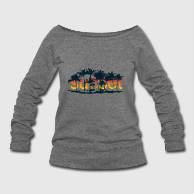 Sunset with palm trees - Women's Wideneck Sweatshirt