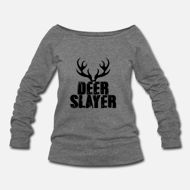 Deer Head Wild Deer Hunter Deer Hunting Target Outdoor Sport - Women's Wide-Neck Sweatshirt