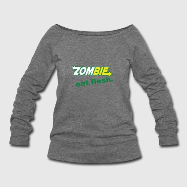 Zombie Eat Flesh Funny Subway Parody Mens Black Pr - Women's Wideneck Sweatshirt