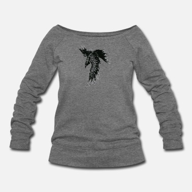 Raven FOR I AM THE RAVEN THE CHILD OF ODIN - Women's Wideneck Sweatshirt