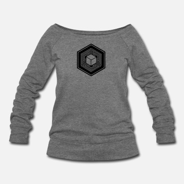 4d TESSERACT, Hypercube 4D, Crop Circle, 17th July 2010, Fosbury, Wiltshire, Symbol - Dimensional Shift - Women's Wide-Neck Sweatshirt