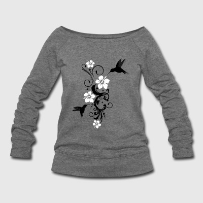 Hummingbird, colibri with hibiscus - Women's Wideneck Sweatshirt