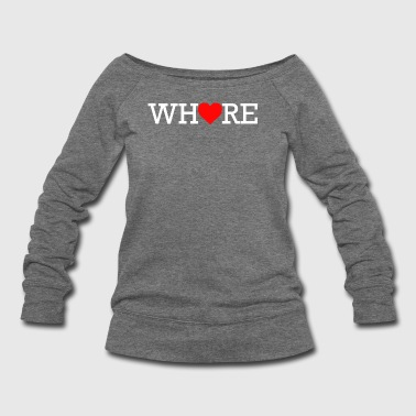Whore Heart White Print - Women's Wideneck Sweatshirt