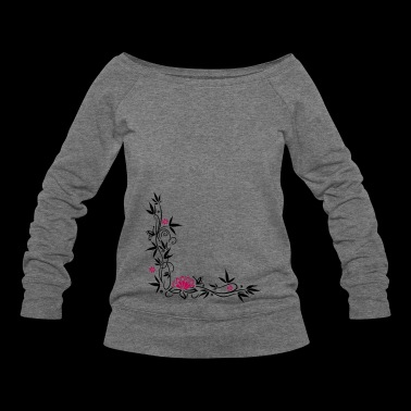 Bamboo with small blossoms and lotus flower. - Women's Wideneck Sweatshirt