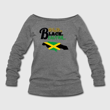 BOLD BLACK BEAUTIFUL JAMAICA - Women's Wideneck Sweatshirt