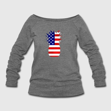 Pineapple United States Flag - Women's Wideneck Sweatshirt