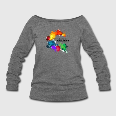 Live In Colour - Paint Splashes Colour Tee - Women's Wideneck Sweatshirt
