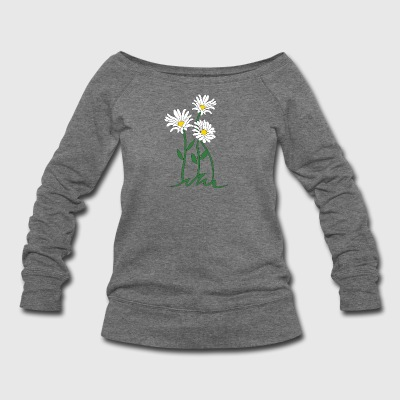 daisy marguerite moonflower - Women's Wideneck Sweatshirt