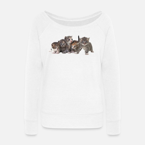 Kitten Hoodies & Sweatshirts - 5 KITTENS - Women's Wide-Neck Sweatshirt white