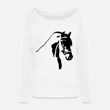 Dressage dressage bridled horse head - Women's Wide-Neck Sweatshirt