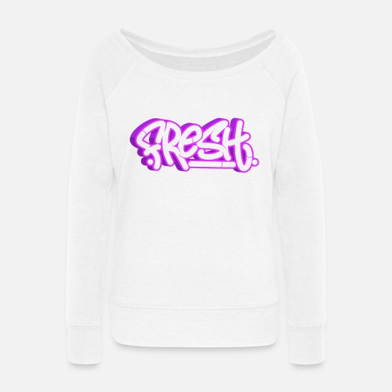 Hip Hop Hoodies & Sweatshirts - Graffiti urban street art gift - Women's Wide-Neck Sweatshirt white