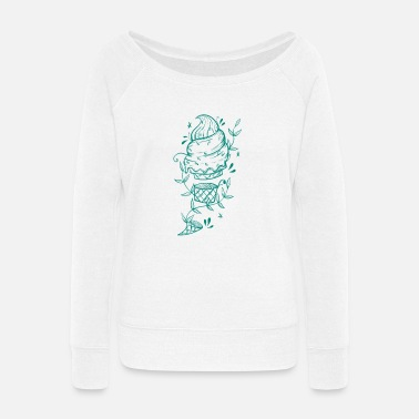 Down Soft ice cream with tendril plants - Women's Wide-Neck Sweatshirt