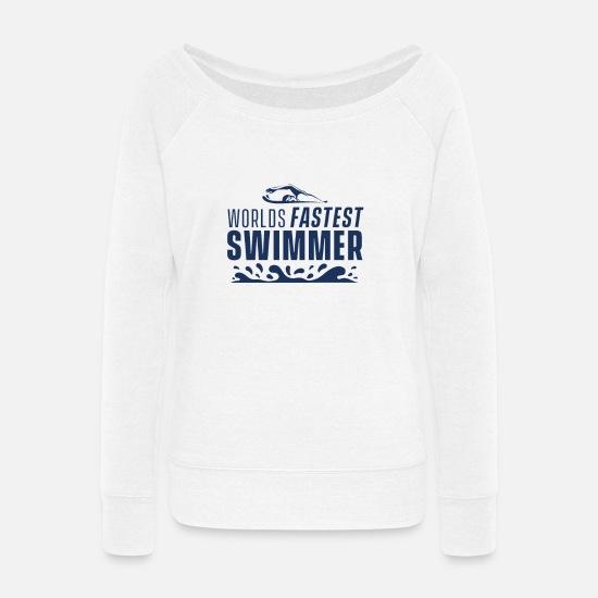 Swim Hoodies & Sweatshirts - Watersports Swimmer Pro-Swimmer Swim Swimming - Women's Wide-Neck Sweatshirt white