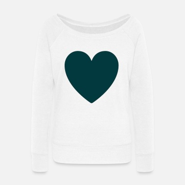 Heart icon minimal design - Women's Wide-Neck Sweatshirt