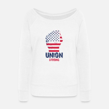 Union Strong Vintage USA Flag Proud Labor Day - Women's Wide-Neck Sweatshirt