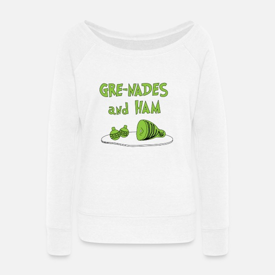 Sam Hoodies & Sweatshirts - Gre-nades and Ham - Women's Wide-Neck Sweatshirt white