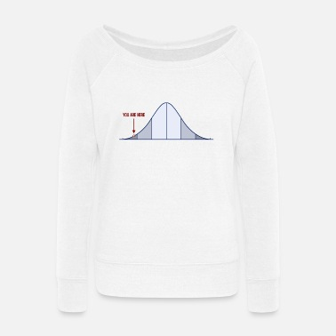 Iq IQ Bell Curve You Are Here - Women's Wide-Neck Sweatshirt