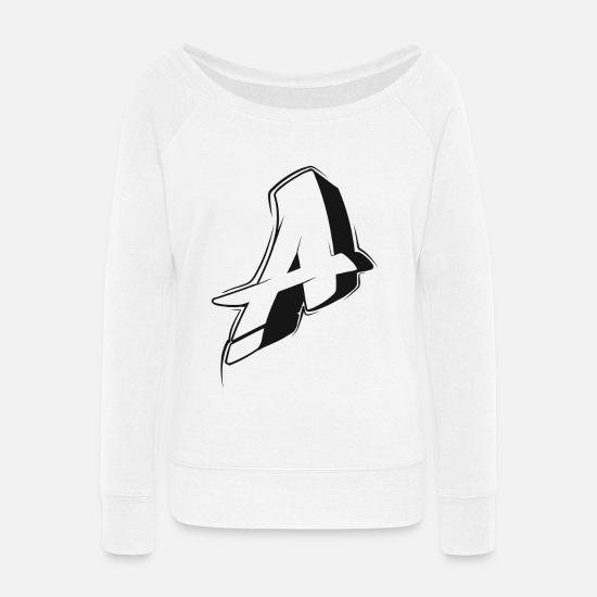 Graffiti Hoodies & Sweatshirts - A Graffiti letters initial alphabet gift - Women's Wide-Neck Sweatshirt white