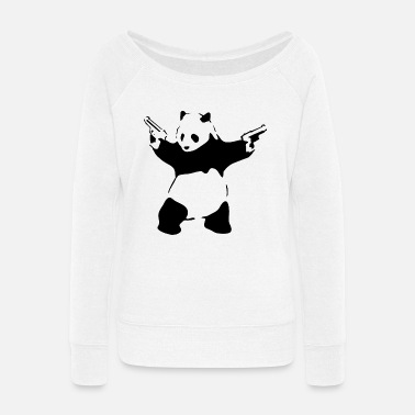 Panda Panda with guns - Women's Wide-Neck Sweatshirt